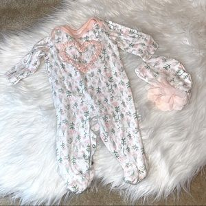 Baby Starter's Girl's Pajama and Cap Floral Set 3M